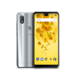 View2 smartphone displayed on both sides, the back is silver grey coloured and the front shows a yellow background image